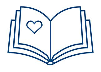 Icon of a book representing reading charity stories